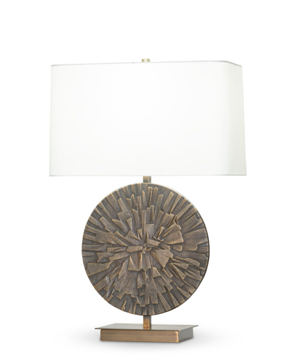 FlowDecor Rory Table Lamp in metal with antique brass finish and off-white cotton rounded rectangle shade (# 4441)