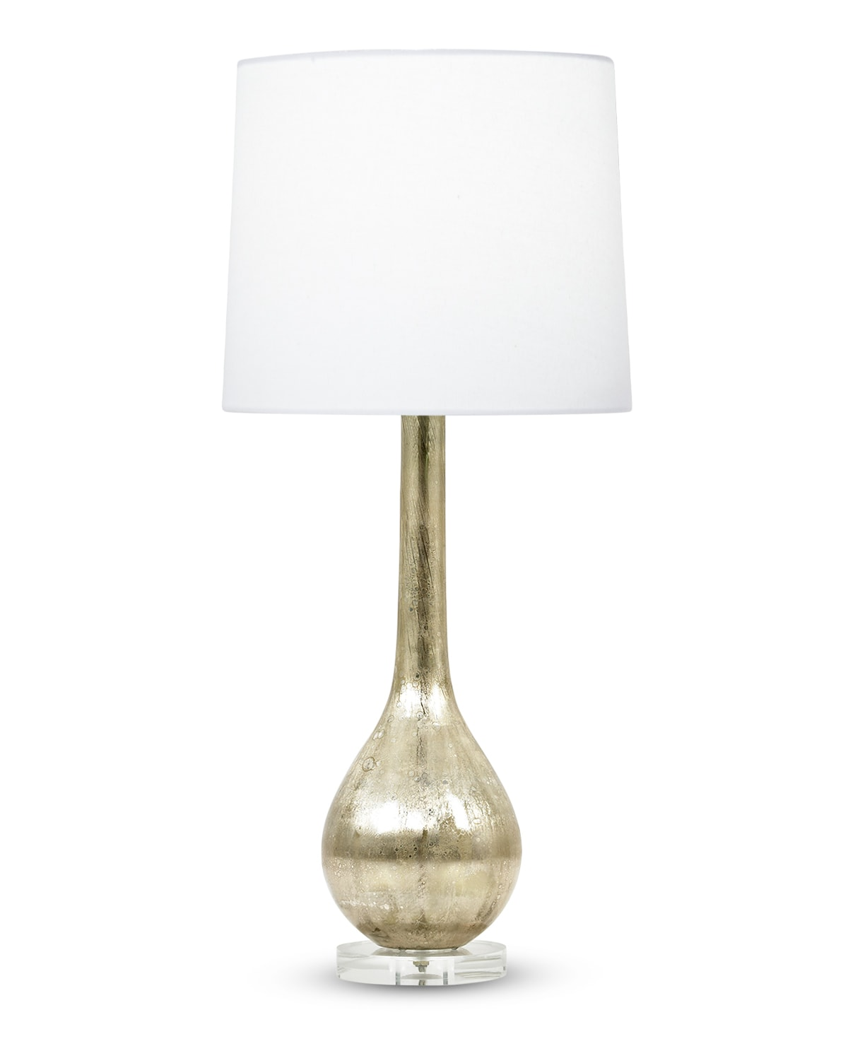 FlowDecor Rowan Table Lamp in mouth-blown glass with beige metallic finish and acrylic base and off-white cotton tapered drum shade (# 3803)