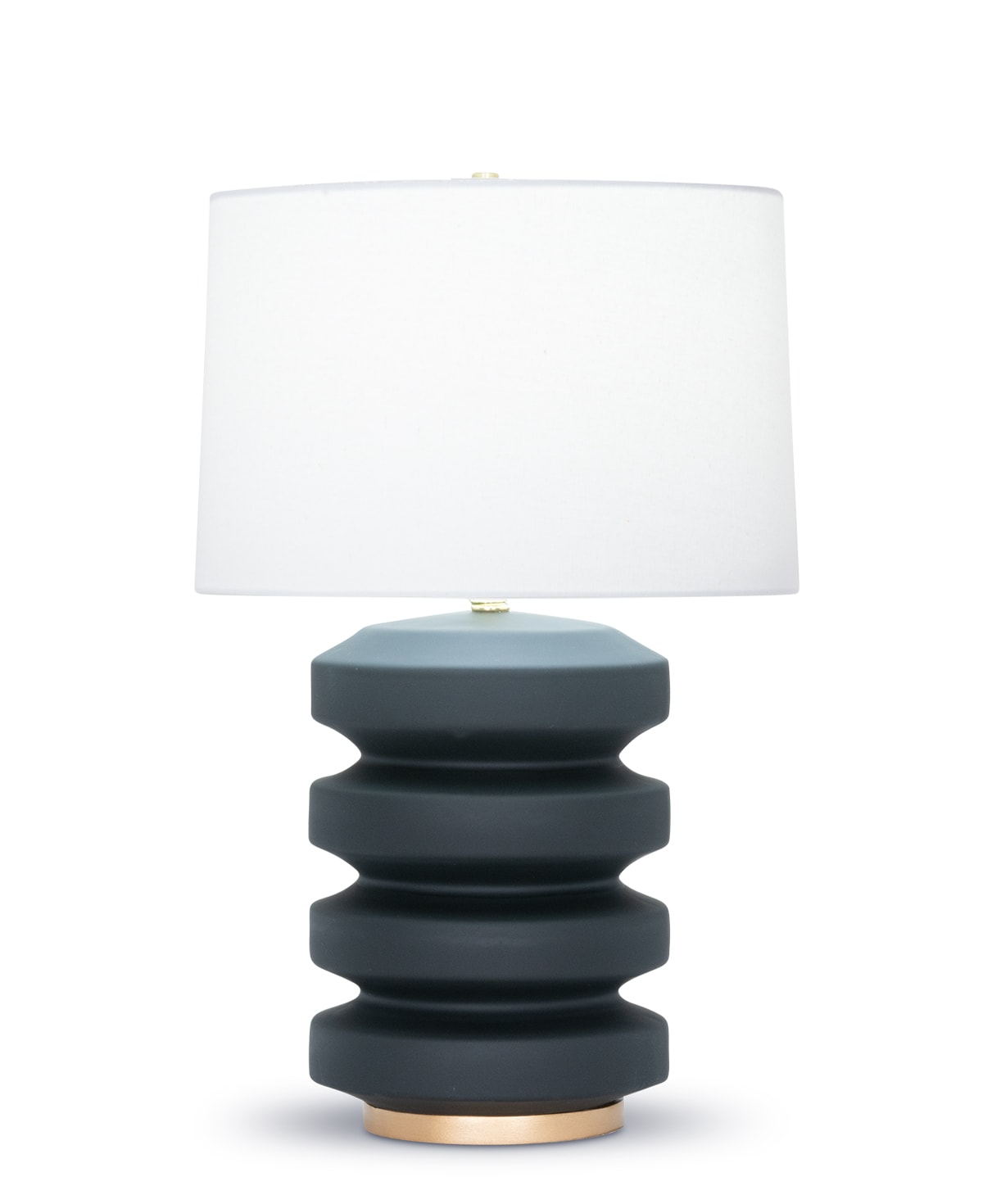 FlowDecor Ruth Table Lamp in ceramic with black matte finish and resin base with gold finish and off-white cotton tapered drum shade (# 4484)