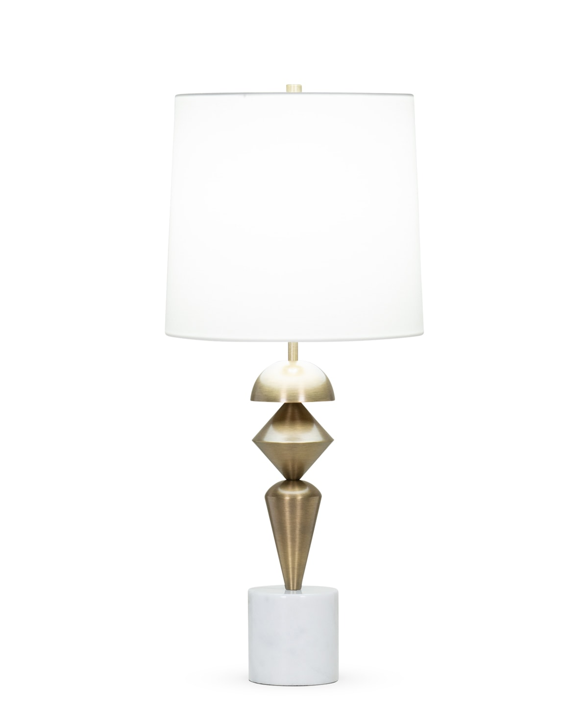 FlowDecor Sable Table Lamp in white marble and metal with antique brass finish and off-white cotton tapered drum shade (# 4405)