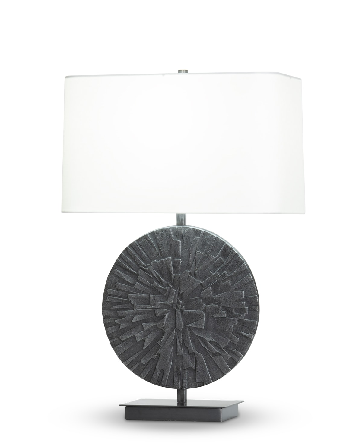 FlowDecor Sadie Table Lamp in metal with antique black finish and off-white cotton rounded rectangle shade (# 4442)