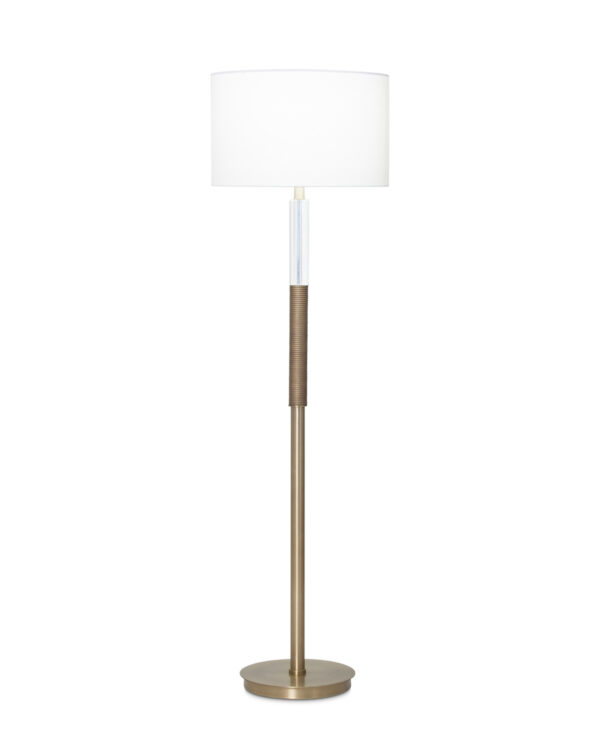 FlowDecor Sage Floor Lamp in resin with antique brass finish and ribbed surface and crystal and metal with antique brass finish and off-white linen drum shade (# 3942)