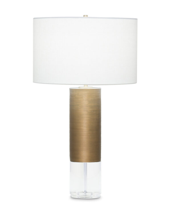 FlowDecor Sage Table Lamp in resin with antique brass finish and finely ribbed surface and crystal and off-white linen drum shade (# 3909)
