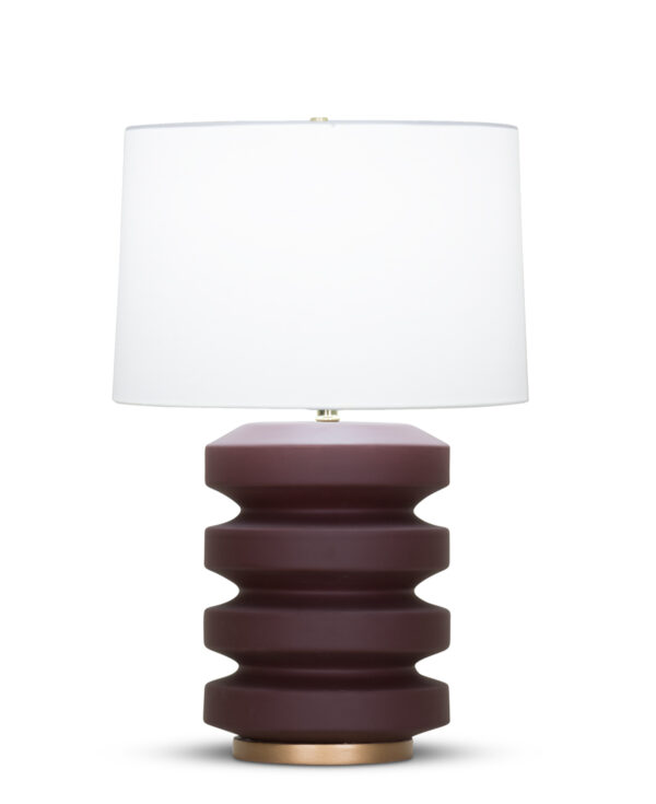 FlowDecor Samantha Table Lamp in ceramic with burgundy matte finish and resin base with gold finish and off-white cotton tapered drum shade (# 4370)
