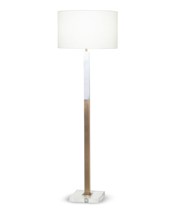 FlowDecor Sanders Floor Lamp in white marble and metal with antique brass finish and crystal and off-white linen drum shade (# 4354)