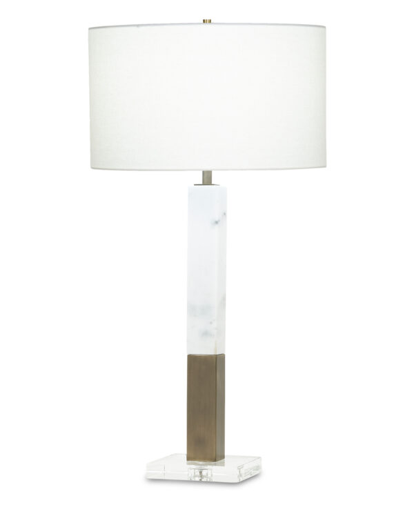 FlowDecor Sanders Table Lamp in white marble and metal with antique brass finish and crystal base and off-white linen drum shade (# 3822)