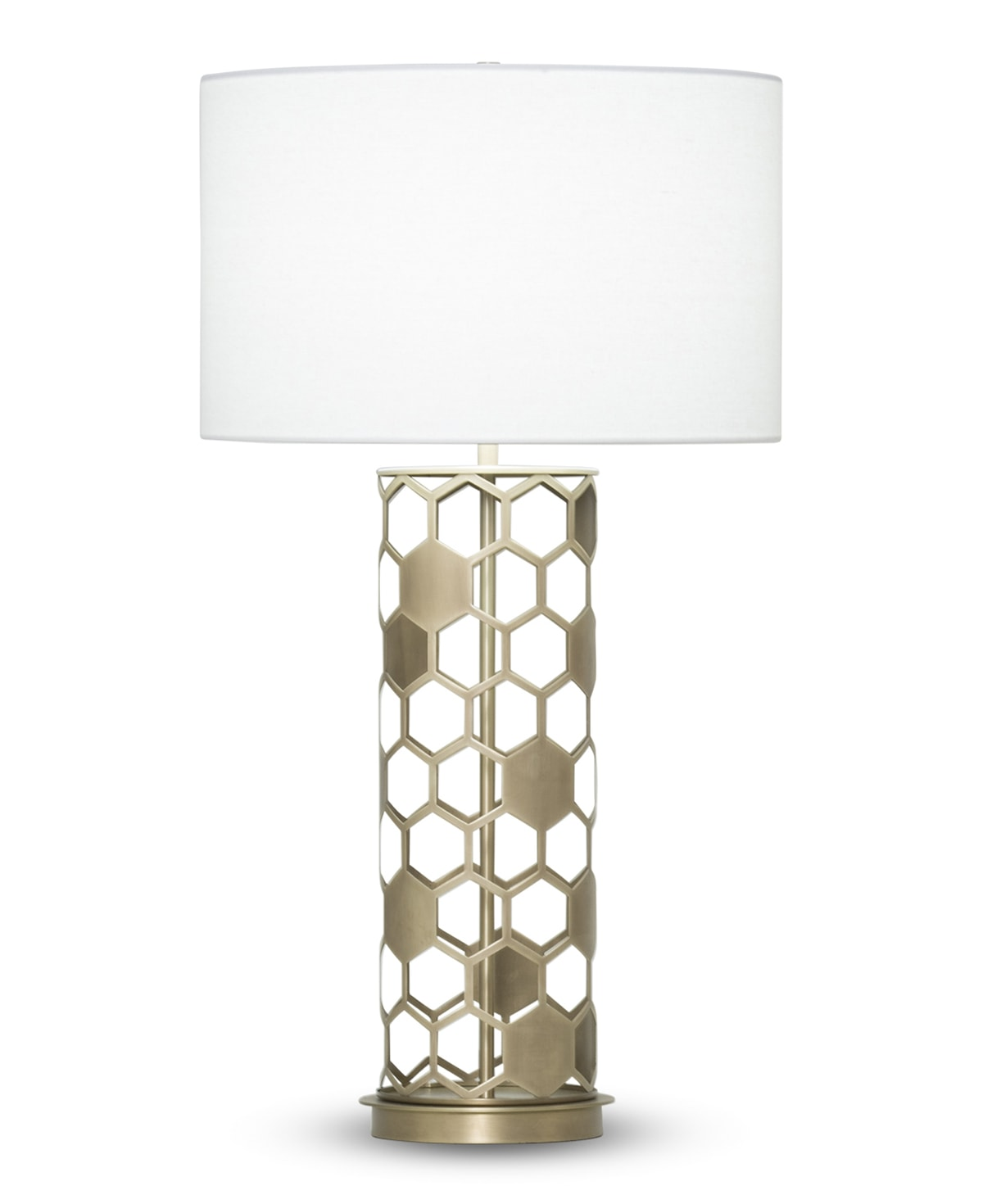 FlowDecor Scarlett Table Lamp in metal with antique brass finish and off-white linen drum shade (# 3914)