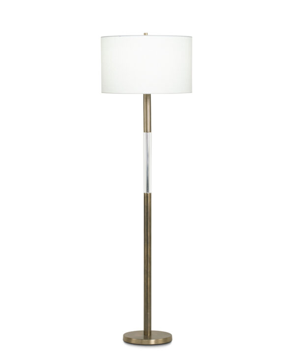 FlowDecor Severn Floor Lamp in metal with antique brass finish and crystal and off-white linen drum shade (# 3640)