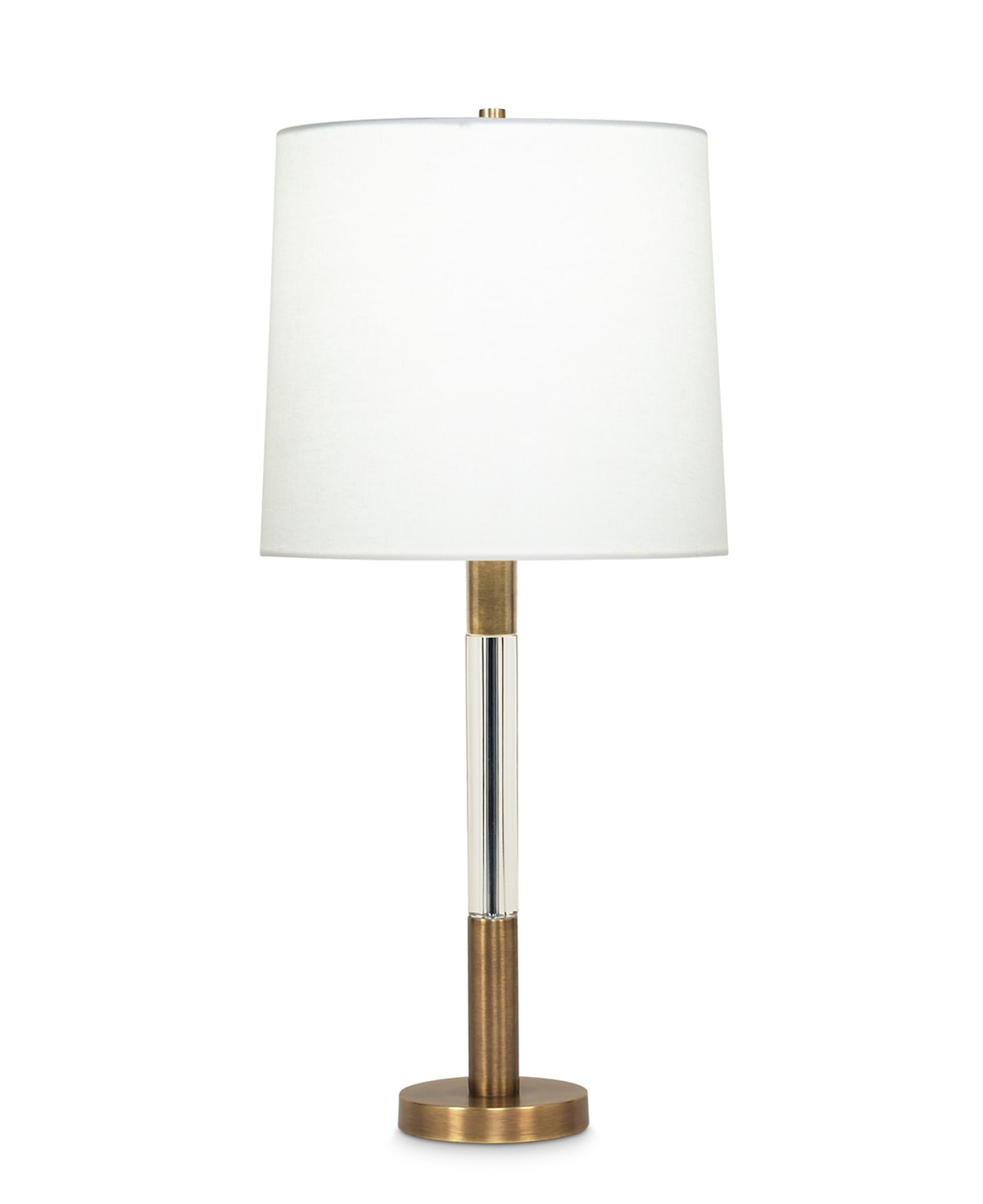 FlowDecor Severn Table Lamp in metal with antique brass finish and crystal and off-white linen tapered drum shade (# 3592)