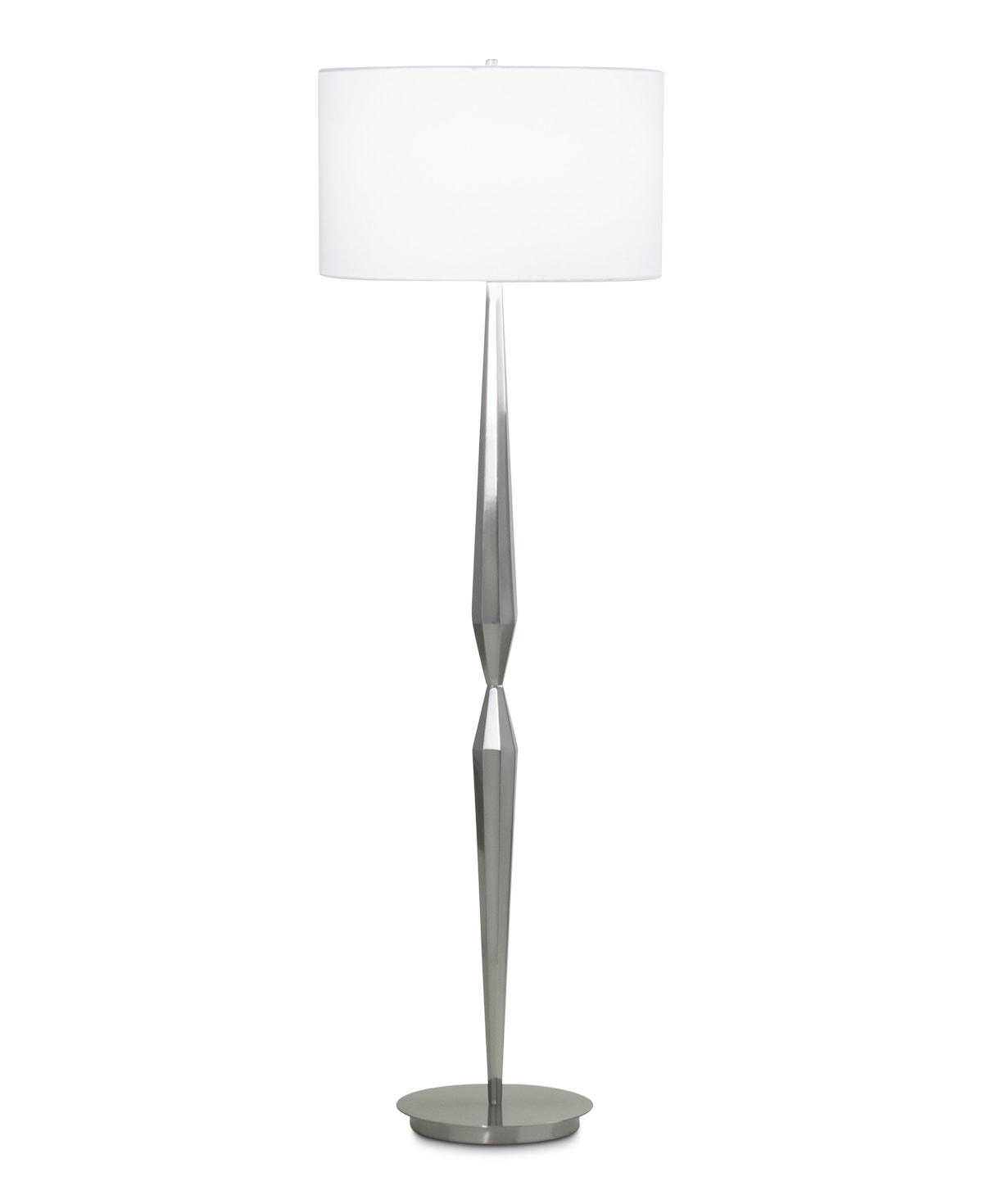 FlowDecor Shaw Floor Lamp in metal with brushed nickel finish and white linen drum shade (# 3885)