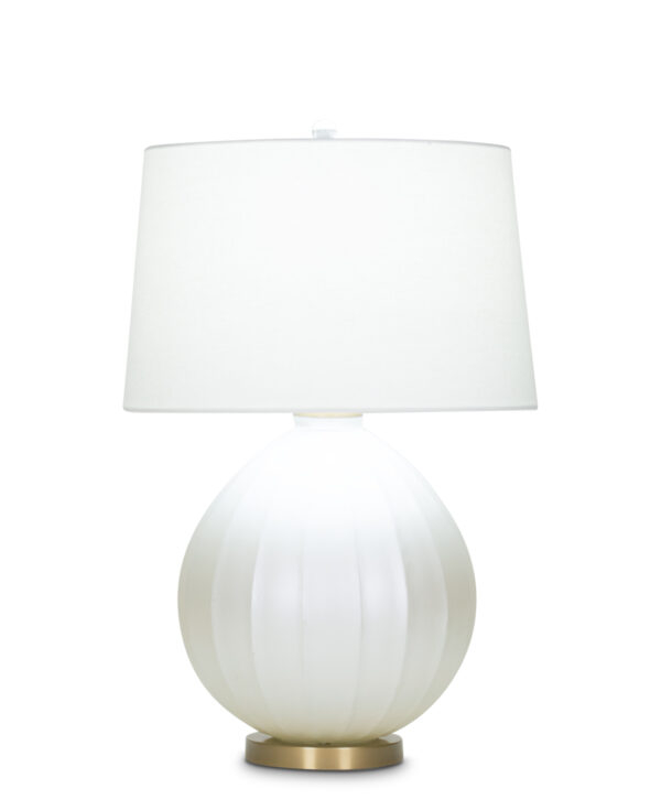 FlowDecor Shelley Table Lamp in mouth-blown glass with pearlescent cream finish and off-white linen tapered drum shade (# 4032)