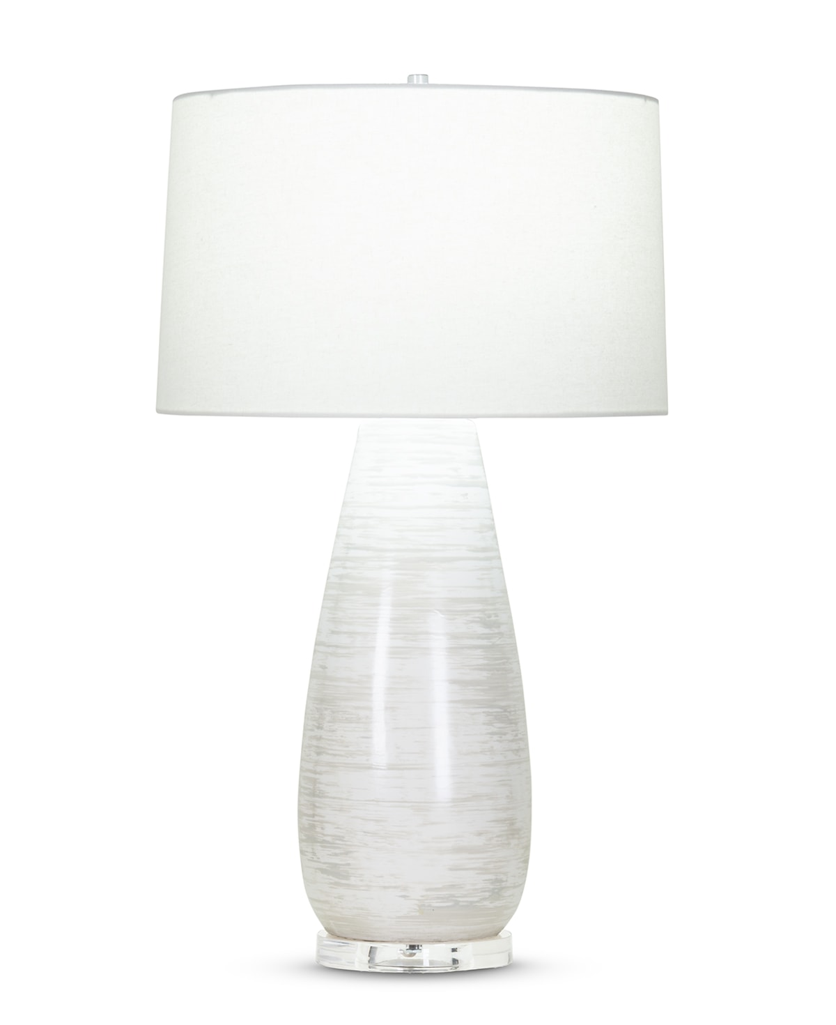 FlowDecor Simone Table Lamp in ceramic with off-white finish and light grey brush strokes and acrylic base and off-white cotton tapered drum shade (# 4075)