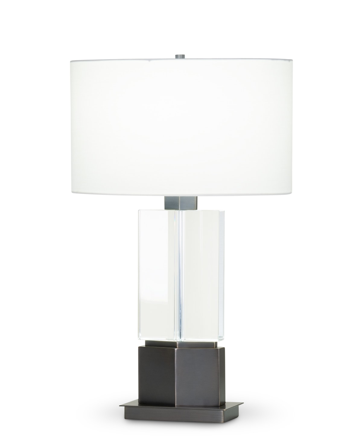 FlowDecor Skye Table Lamp in crystal and metal with bronze finish and off-white cotton oval shade (# 4415)