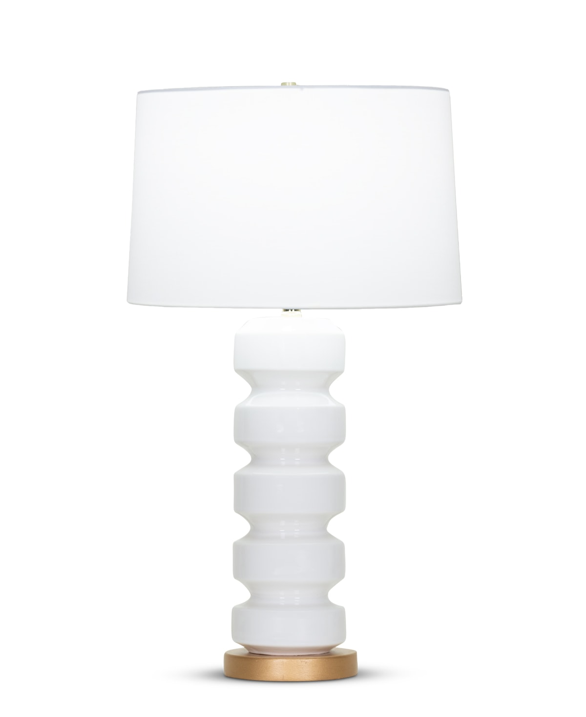 FlowDecor Skylar Table Lamp in ceramic with off-white finish and resin base with gold finish and off-white cotton tapered drum shade (# 4348)