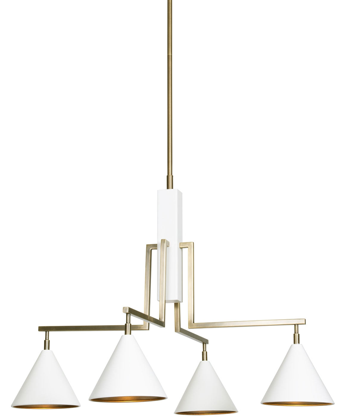 FlowDecor Sparrow Chandelier in metal with matte off-white & antique brass finishes (# 6050)