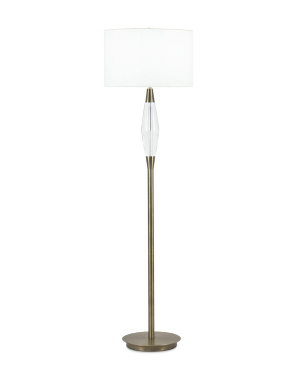 FlowDecor Spencer Floor Lamp in metal with antique brass finish and crystal and off-white linen drum shade (# 3829)
