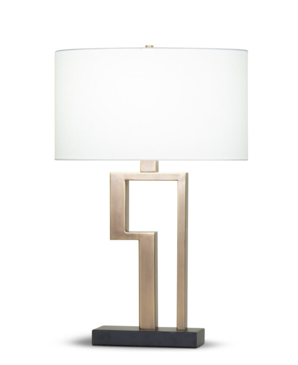 FlowDecor Stella Table Lamp in metal with antique brass & black matte finishes and off-white cotton oval shade (# 4362)
