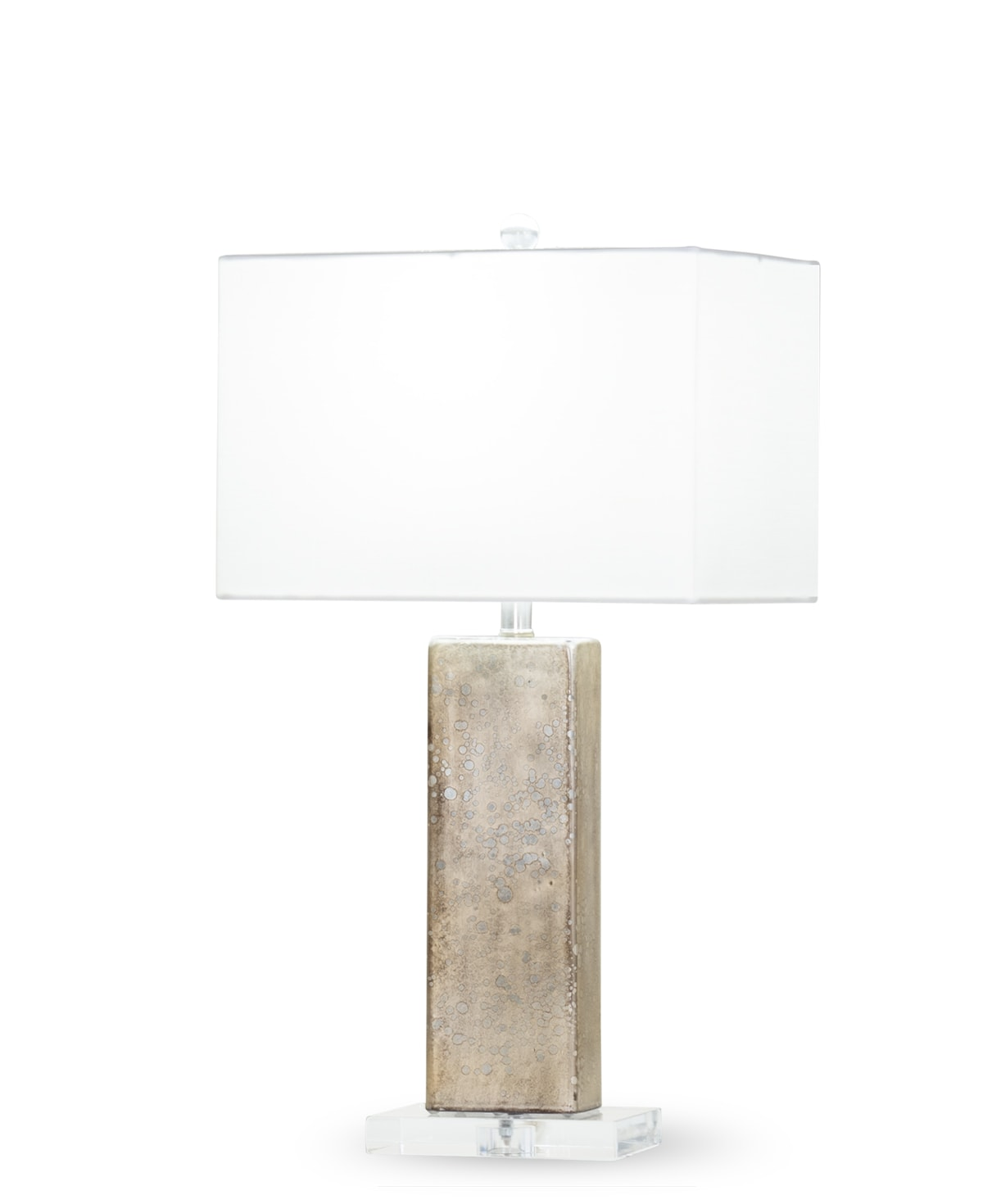 FlowDecor Sumatra Table Lamp in mouth-blown glass with dark champagne metallic finish and white cotton rectangular shade (# 4401)