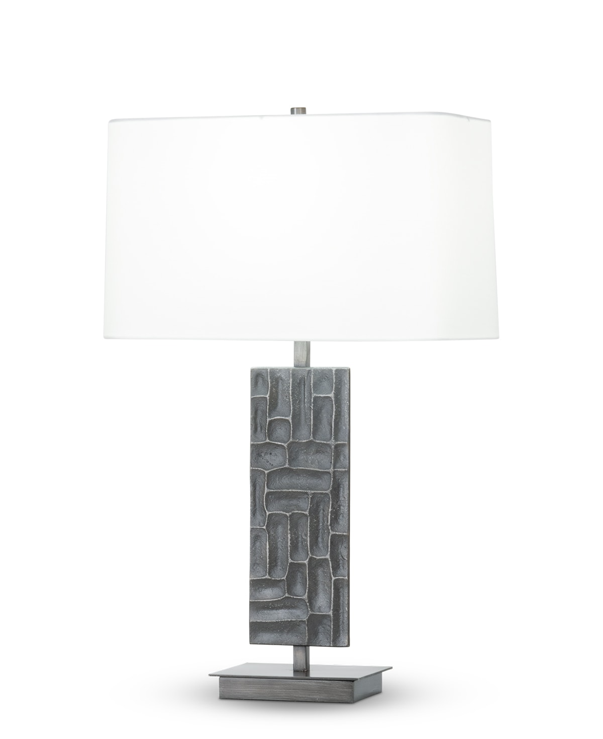 FlowDecor Sybil Table Lamp in metal with antique black finish and off-white cotton rounded rectangle shade (# 4444)