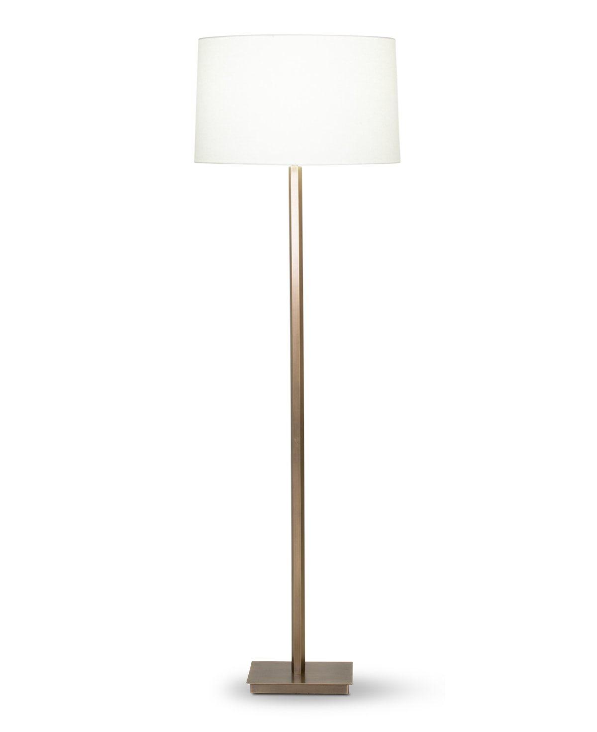 FlowDecor Sydney Floor Lamp in metal with antique brass finish and off-white linen tapered drum shade (# 4356)