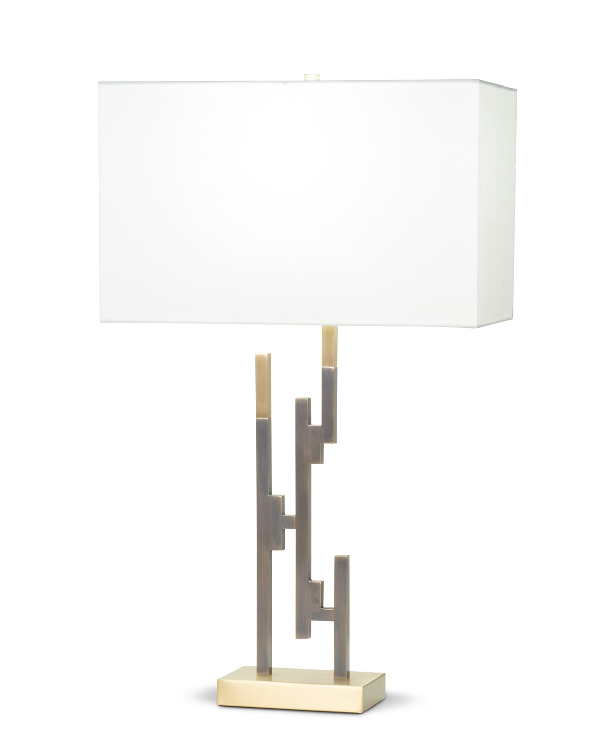 FlowDecor Tahoe Table Lamp in metal with antique brass & bronze finishes and off-white linen rectangular shade (# 4098)