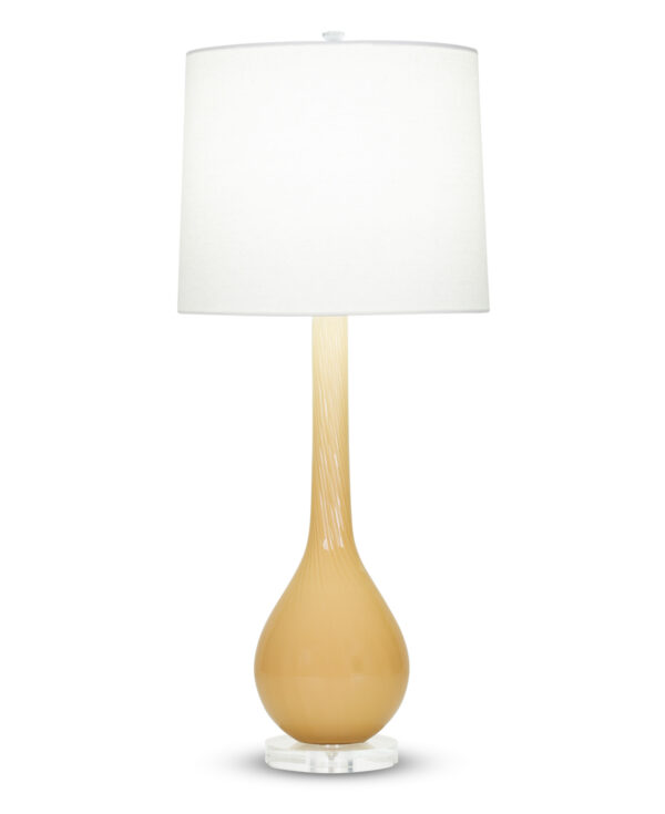 FlowDecor Thomas Table Lamp in mouth-blown glass with burnt yellow finish and acrylic base and off-white linen tapered drum shade (# 4013)