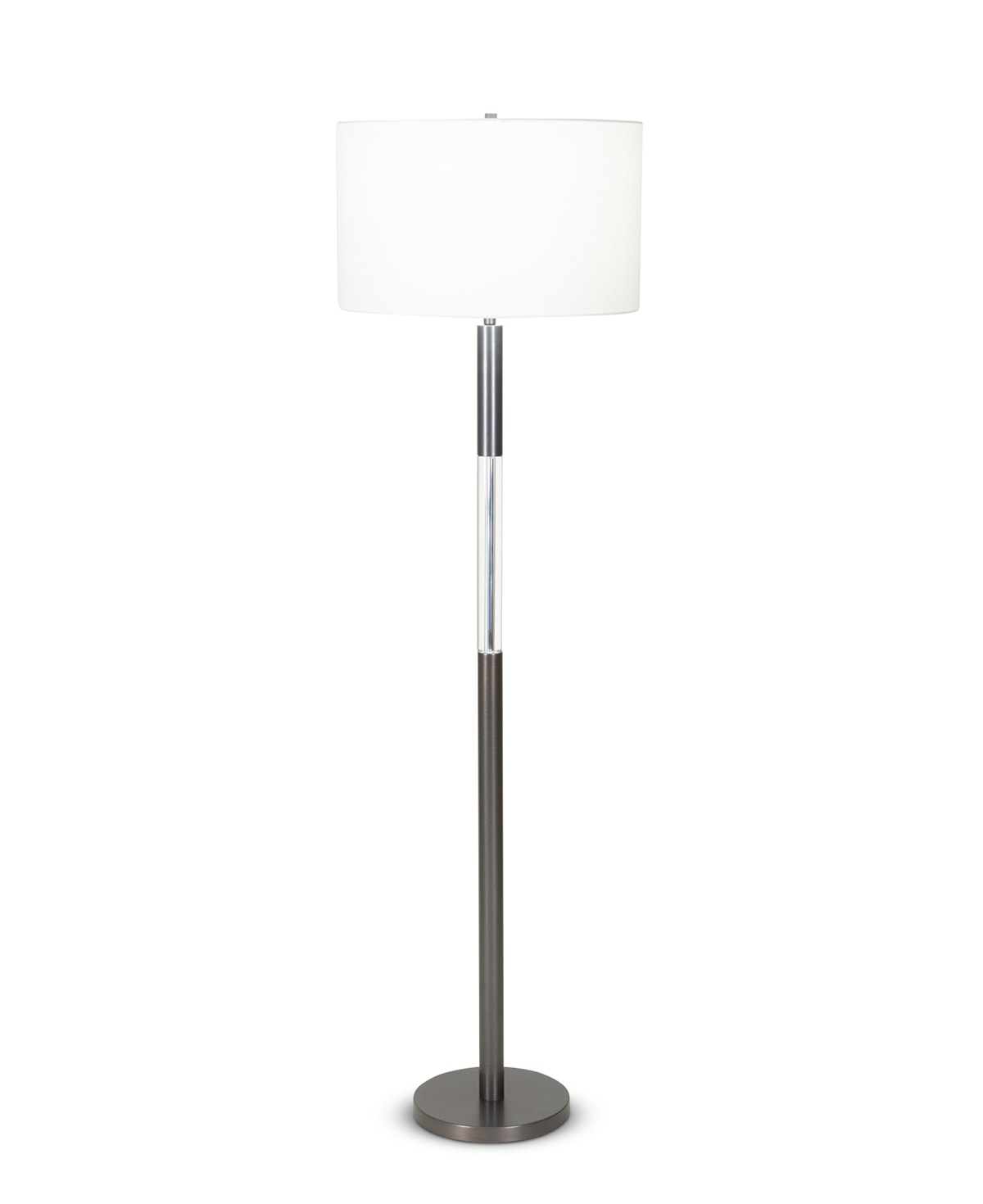 FlowDecor Trent Floor Lamp in metal with bronze finish and crystal and off-white linen drum shade (# 4093)