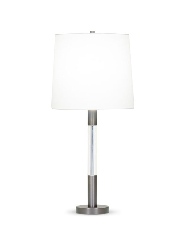 FlowDecor Trent Table Lamp in metal with bronze finish and crystal and off-white linen tapered drum shade (# 4092)