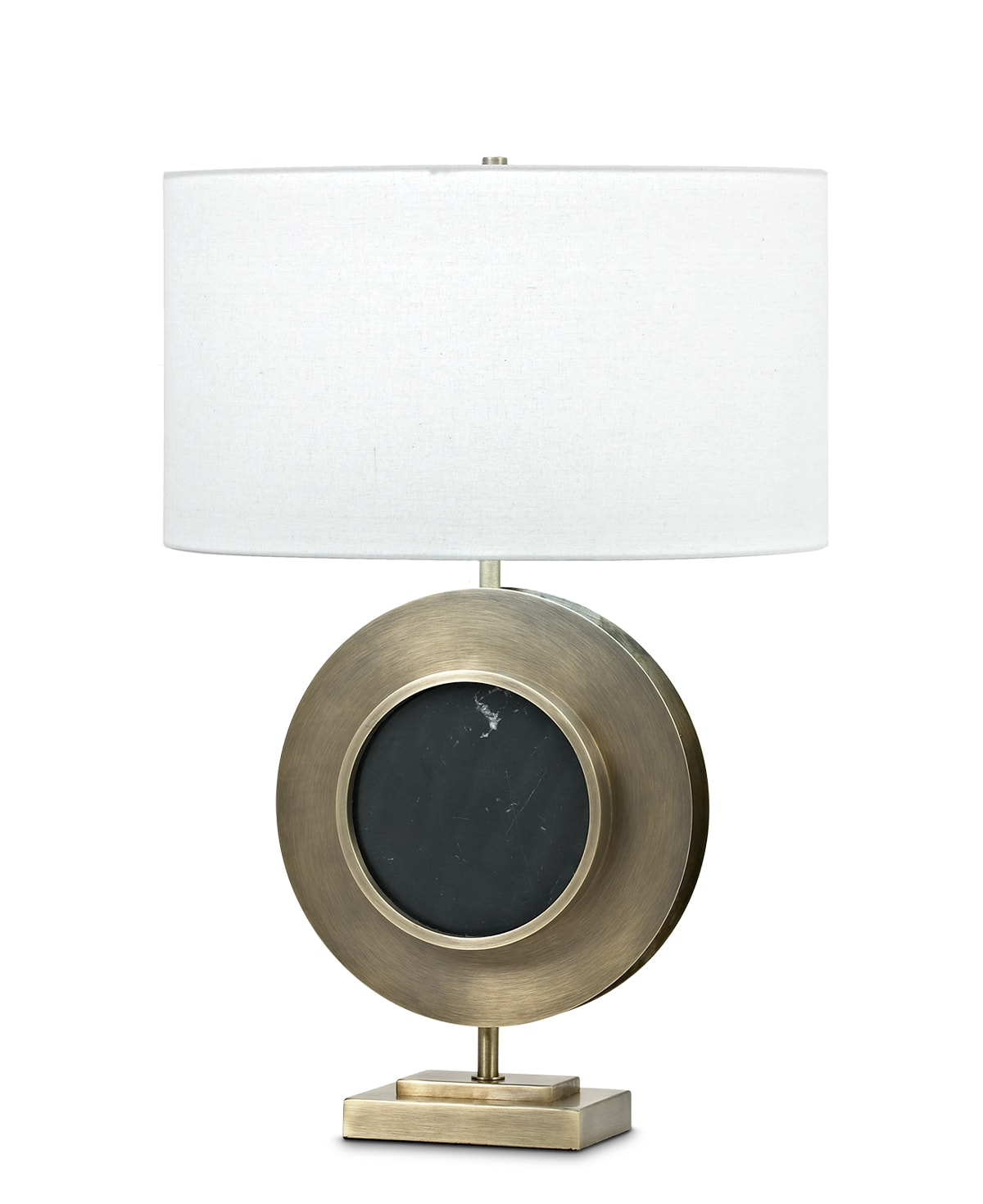 FlowDecor Turner Table Lamp in black marble and metal with antique brass finish and off-white linen oval shade (# 3813)