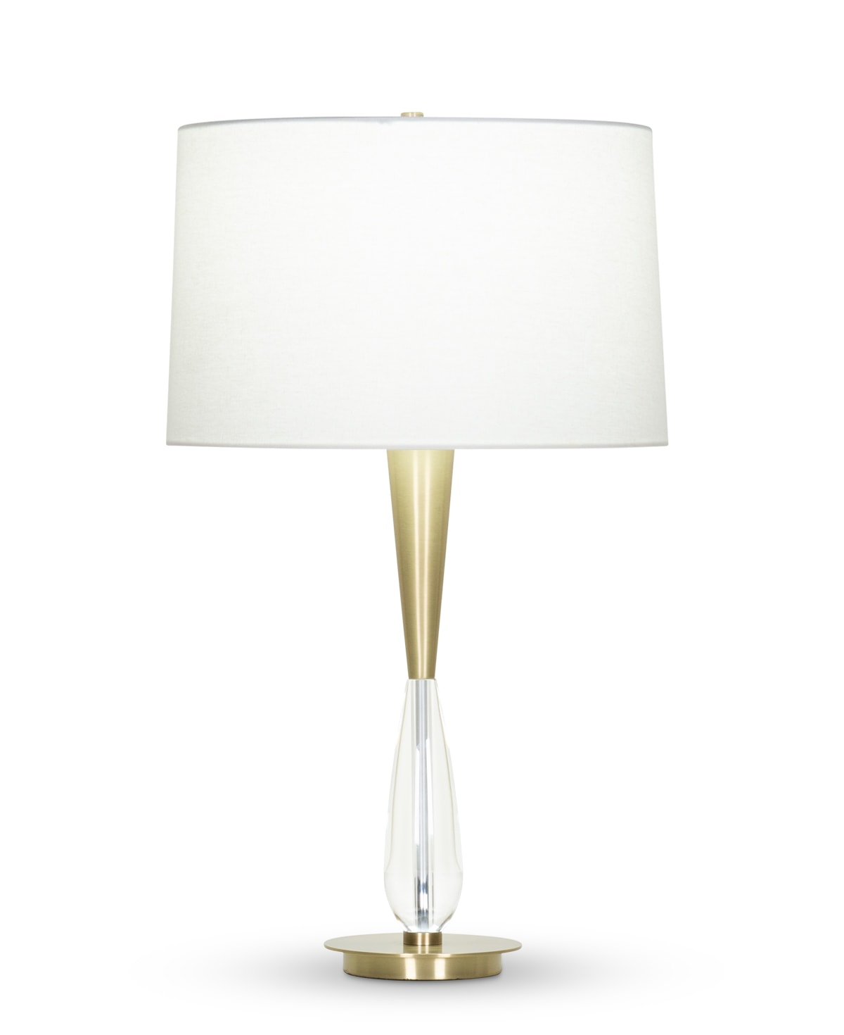 FlowDecor Violet Table Lamp in crystal and metal with antique brass finish and off-white linen tapered drum shade (# 4358)