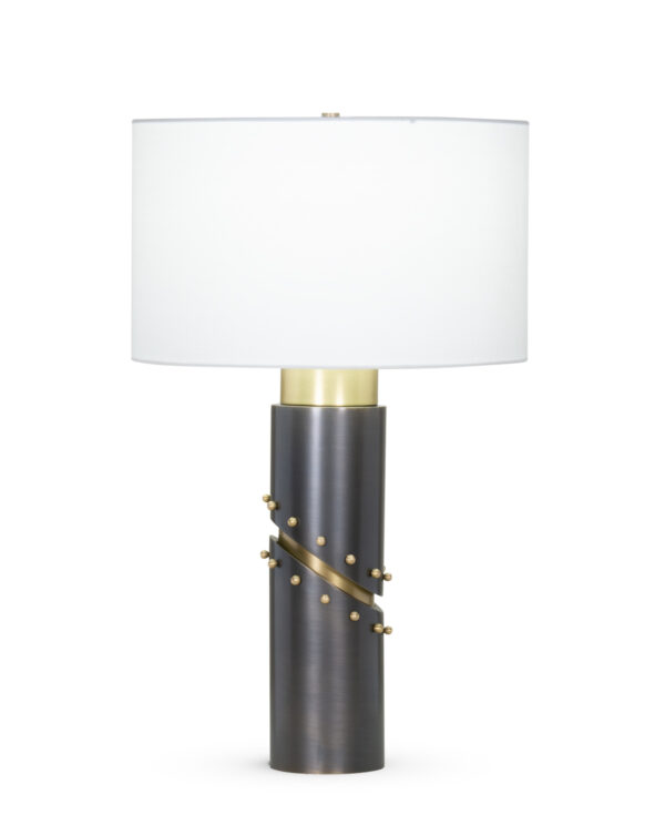 FlowDecor Wales Table Lamp in metal with antique brass & bronze finishes and off-white cotton drum shade (# 4407)