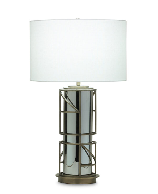 FlowDecor Walker Table Lamp in brass with antique brass finish and glass with grey metallic finish and off-white linen drum shade (# 3752)