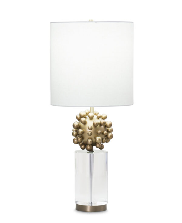 FlowDecor Warren Table Lamp in crystal and resin with antique brass finish and ribbed surface and metal with antique brass finish and off-white linen drum shade (# 3865)