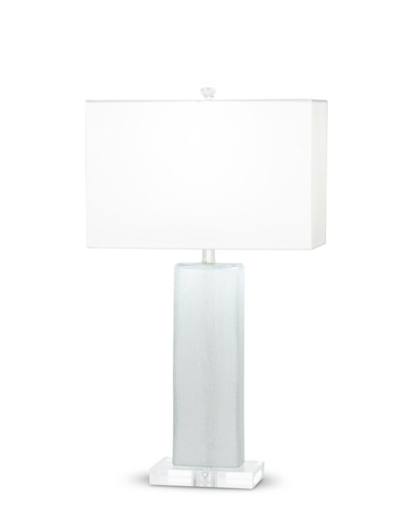FlowDecor Waterloo Table Lamp in mouth-blown glass with hand-etched ice finish and acrylic base and white cotton rectangular shade (# 3371)