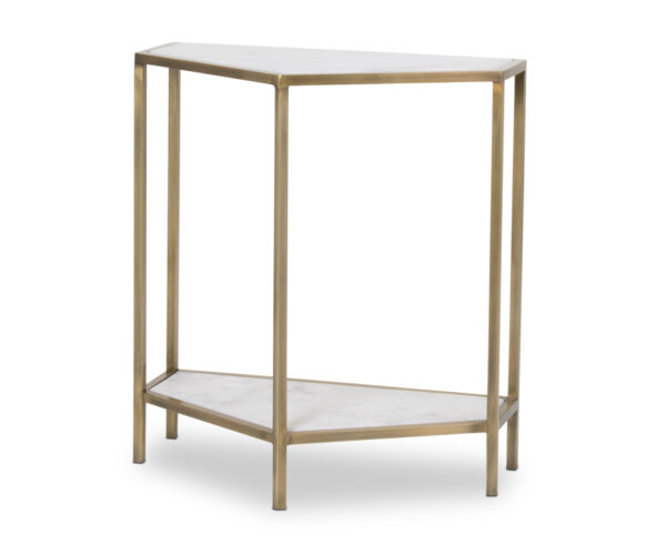 FlowDecor Wells Console Table in metal with antique brass finish and white marble (# 7006)