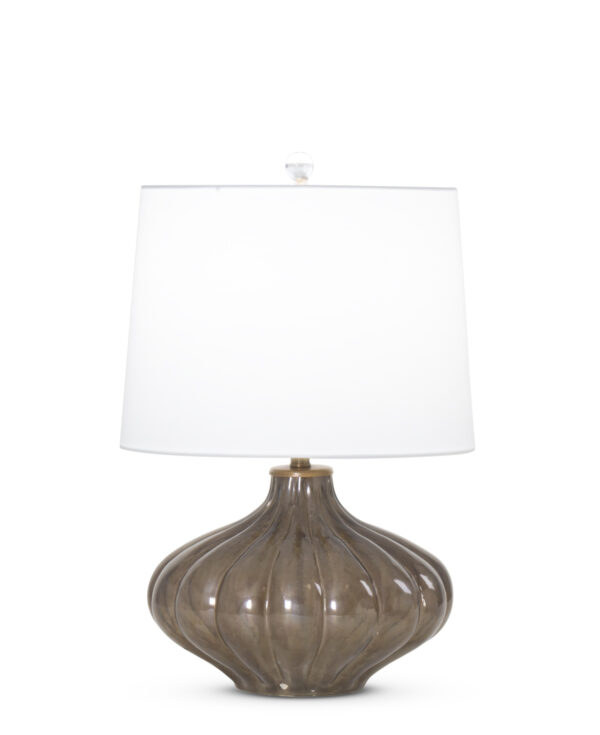FlowDecor Wolfe Table Lamp in mouth-blown glass with charcoal finish and metal with antique brass finish and off-white cotton tapered drum shade (# 3871)
