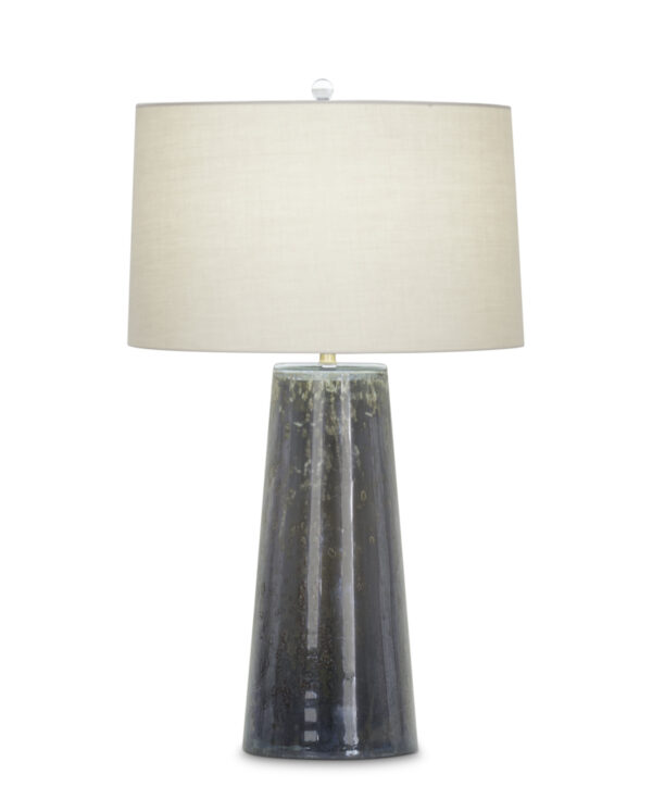 FlowDecor Wyatt Table Lamp in mouth-blown glass with dark mixed finish and beige cotton tapered drum shade (# 3953)