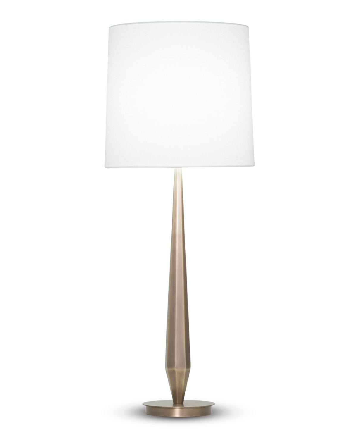 FlowDecor Zoe Table Lamp in metal with antique brass finish and off-white linen tapered drum shade (# 3921)