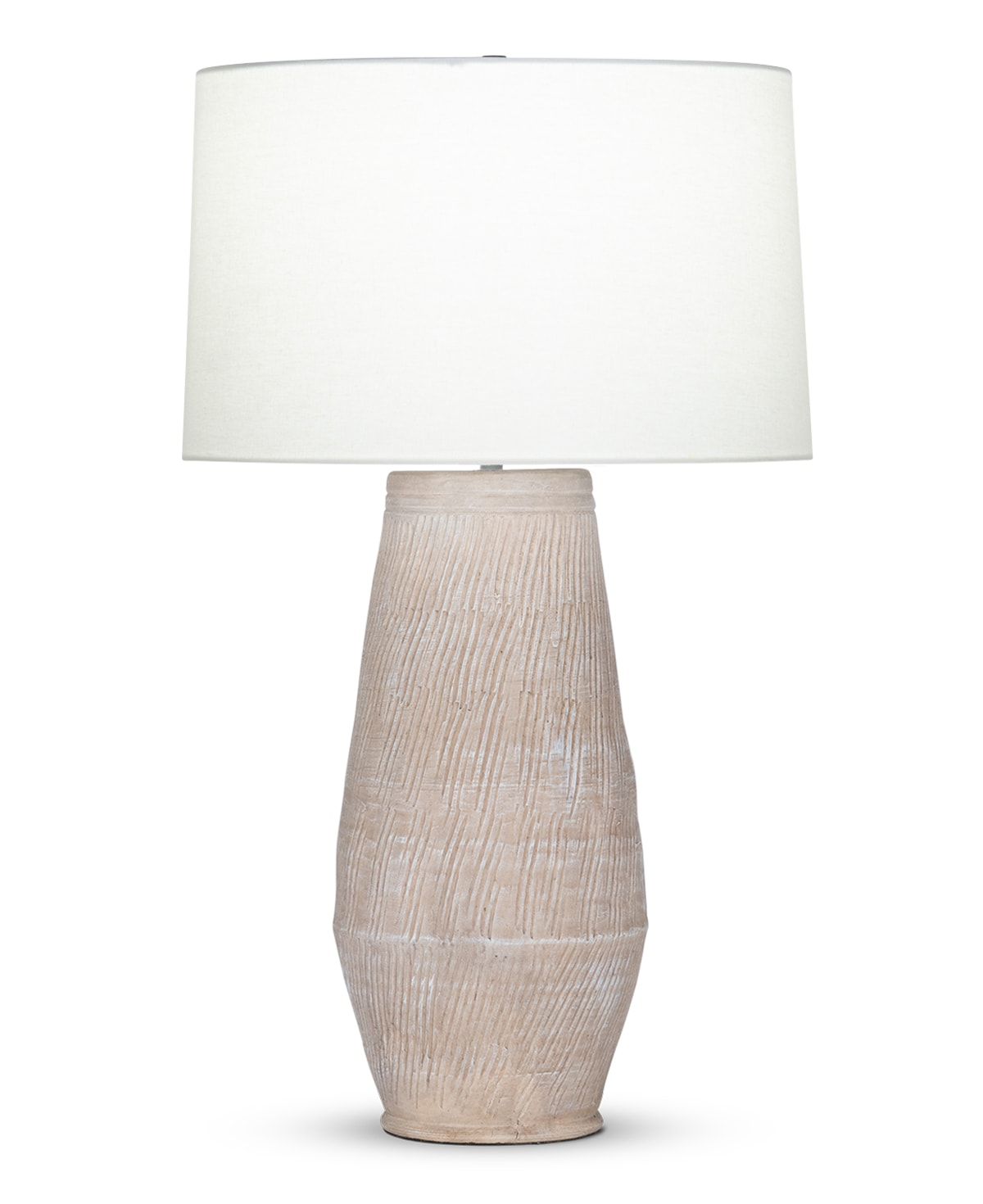 FlowDecor Adrian Table Lamp in ceramic with sand finish and off-white linen tapered drum shade (# 4500)