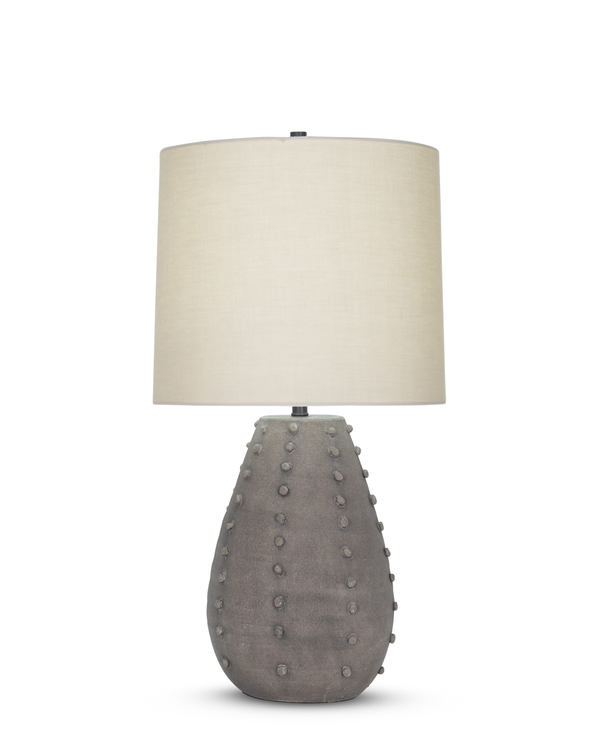 FlowDecor Camilla Table Lamp in ceramic with taupe finish and beige cotton tapered drum shade (# 4506)