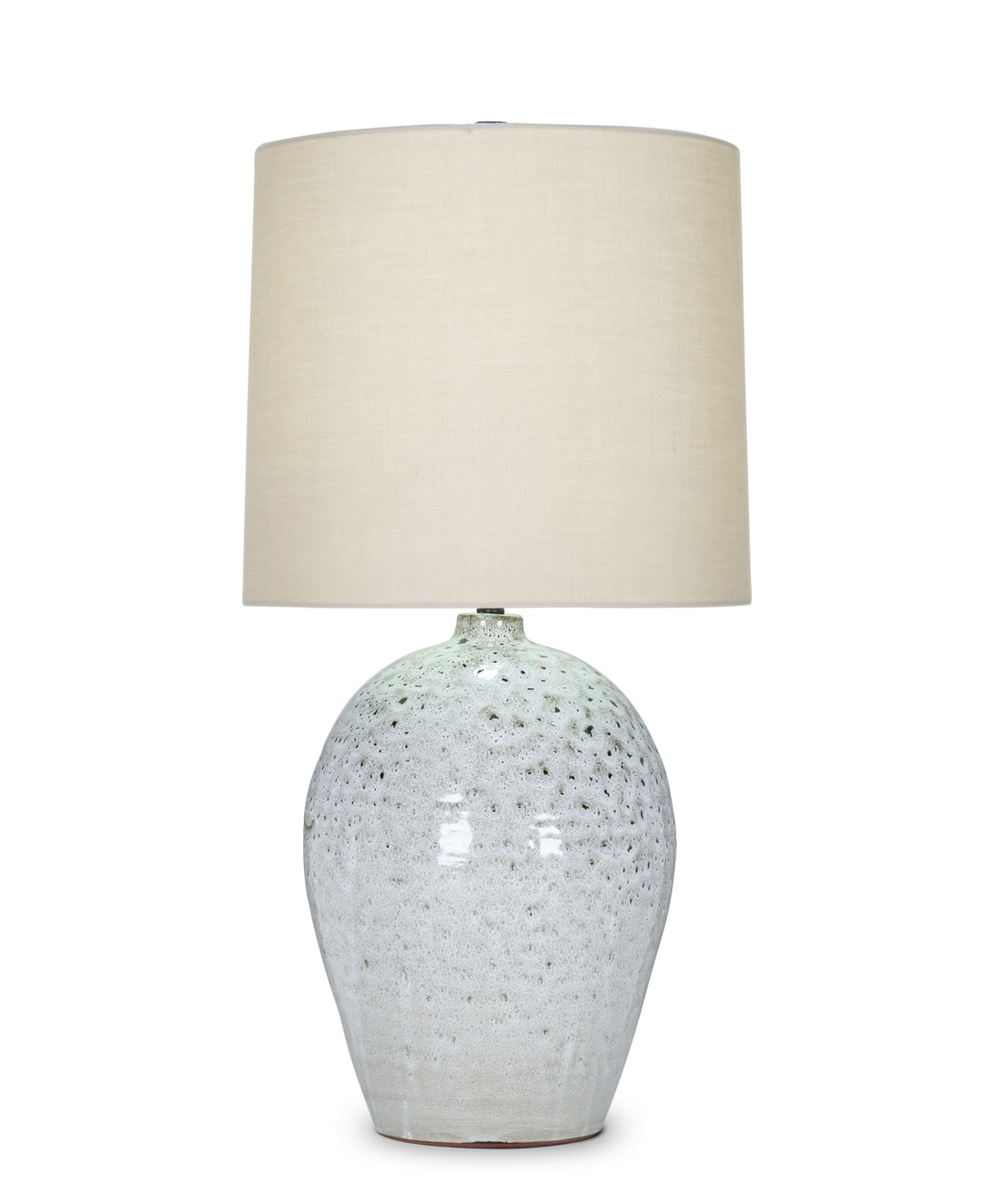 FlowDecor Connor Table Lamp in ceramic with ivory with taupe & black finish and beige cotton tapered drum shade (# 4501)