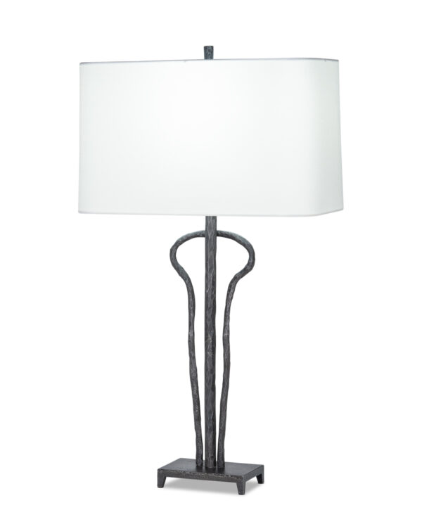 FlowDecor Dominic Table Lamp in metal with antique black finish and off-white cotton rounded rectangle shade (# 4495)