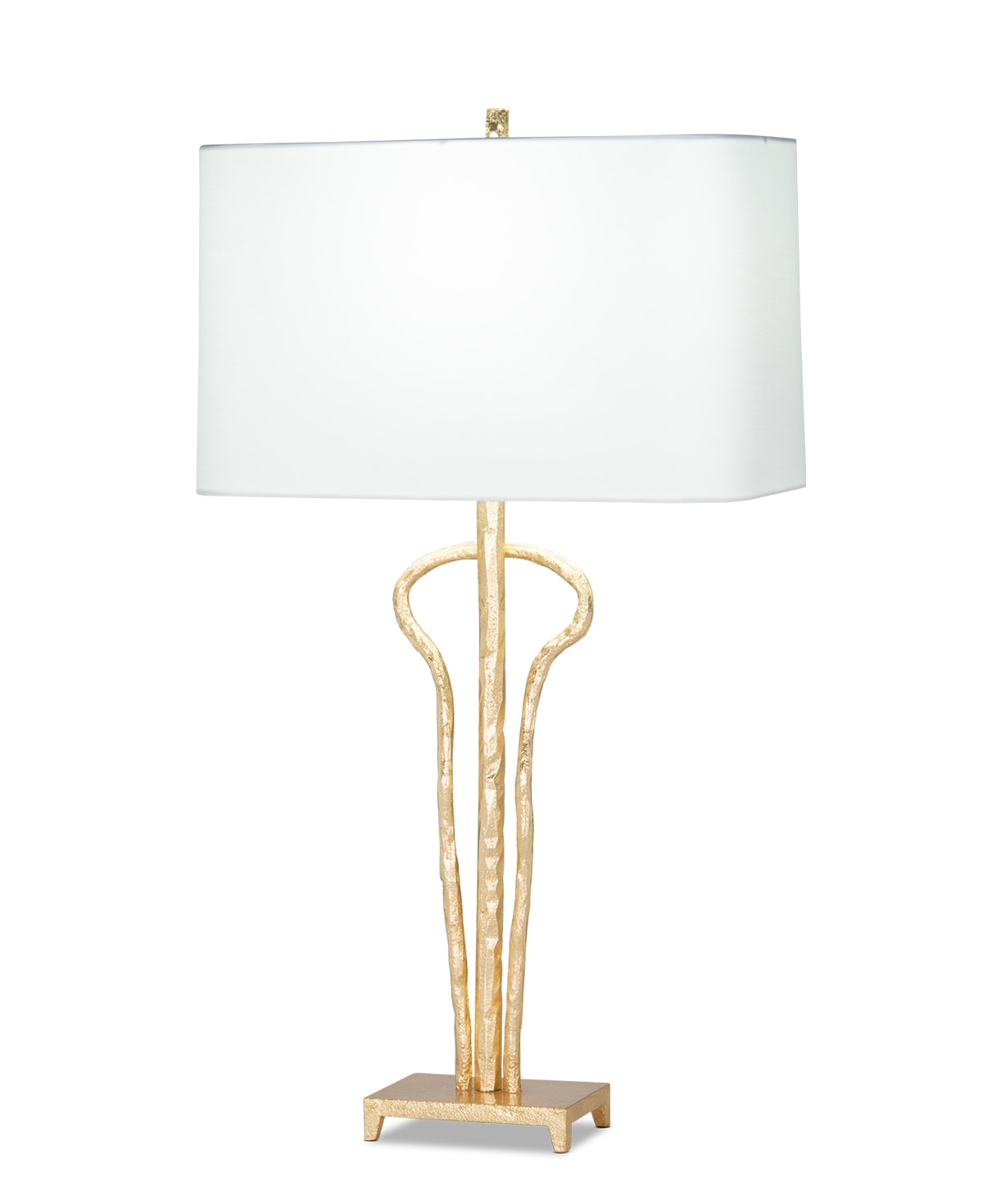 FlowDecor Evelyn Table Lamp in metal with gold leaf finish and off-white cotton rounded rectangle shade (# 4494)