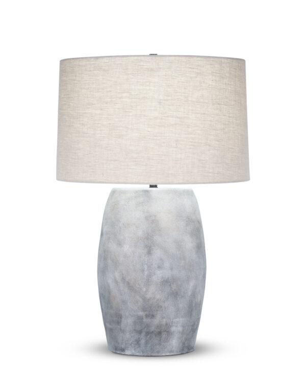 FlowDecor Gabriel Table Lamp in ceramic with grey finish and beige linen tapered drum shade (# 4502)