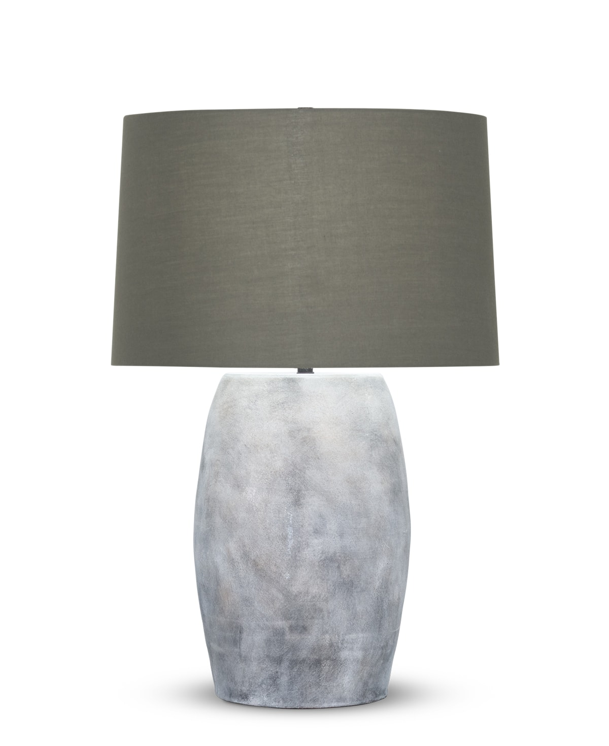 FlowDecor Gabriel Table Lamp in ceramic with grey finish and taupe cotton tapered drum shade (# 4502)