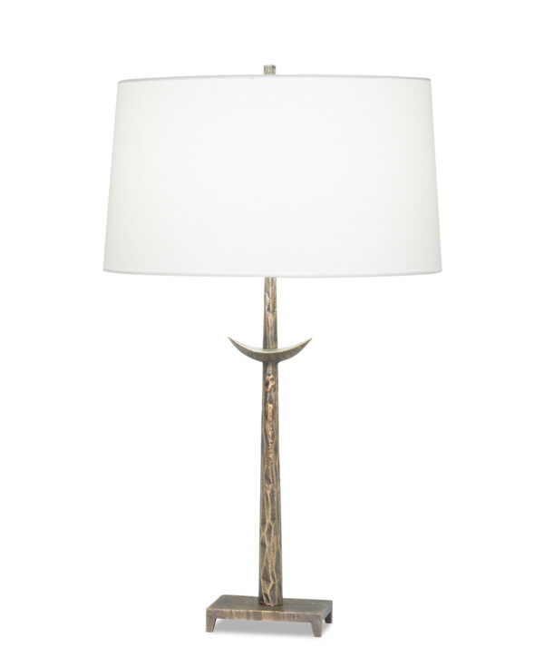 FlowDecor Gianna Table Lamp in metal with antique brass finish and off-white linen oval shade (# 4496)