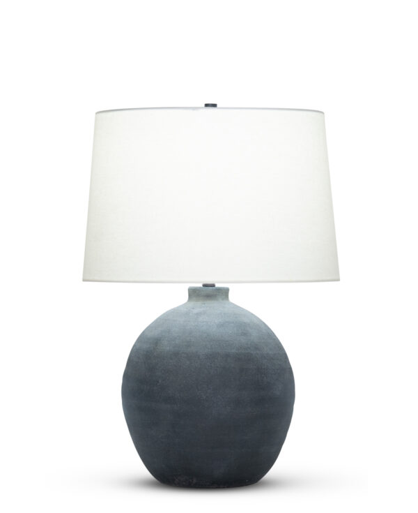 FlowDecor Jayden Table Lamp in ceramic with distressed black finish and off-white linen tapered drum shade (# 4505)