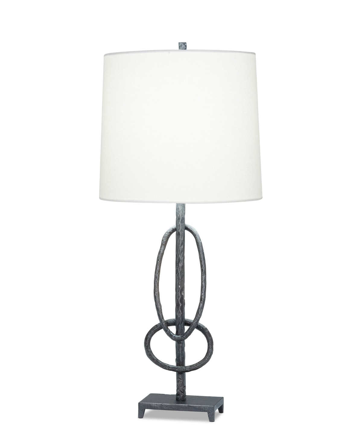 FlowDecor Leo Table Lamp in metal with antique black finish and off-white linen tapered drum shade (# 4493)
