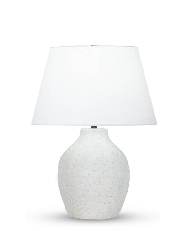 FlowDecor Luna Table Lamp in ceramic with off-white finish and off-white cotton tapered drum shade (# 4503)