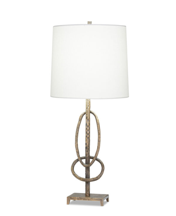 FlowDecor Nora Table Lamp in metal with antique brass finish and off-white linen tapered drum shade (# 4492)